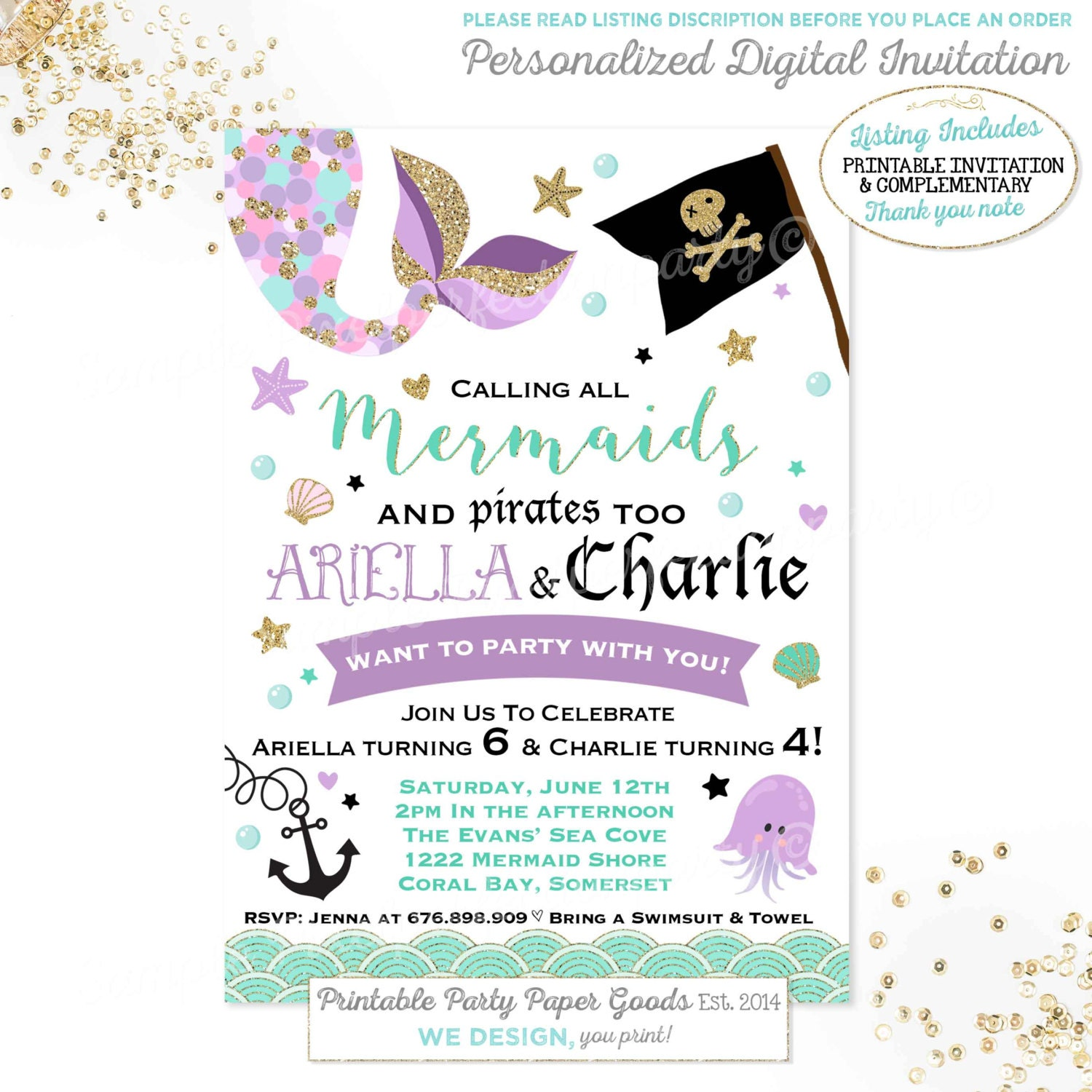 Mermaid And Pirate Birthday Invitation Sibling Mermaid & | Etsy