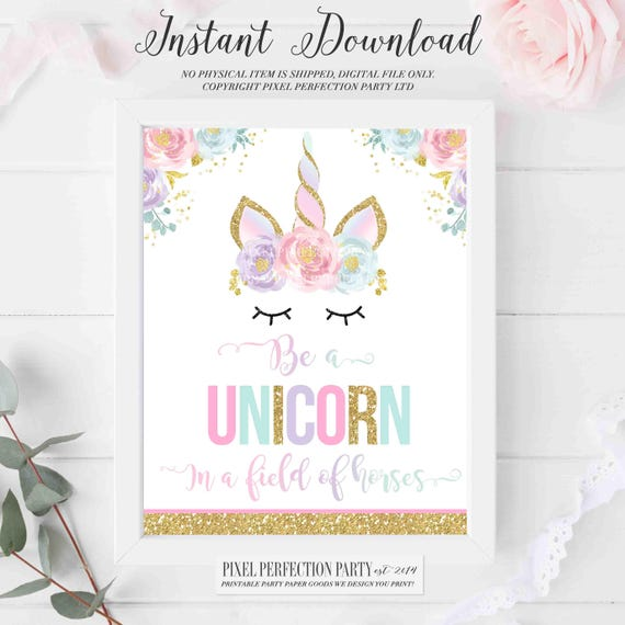 It's just an image of Be a Unicorn in a Field of Horses Free Printable for nursery wall