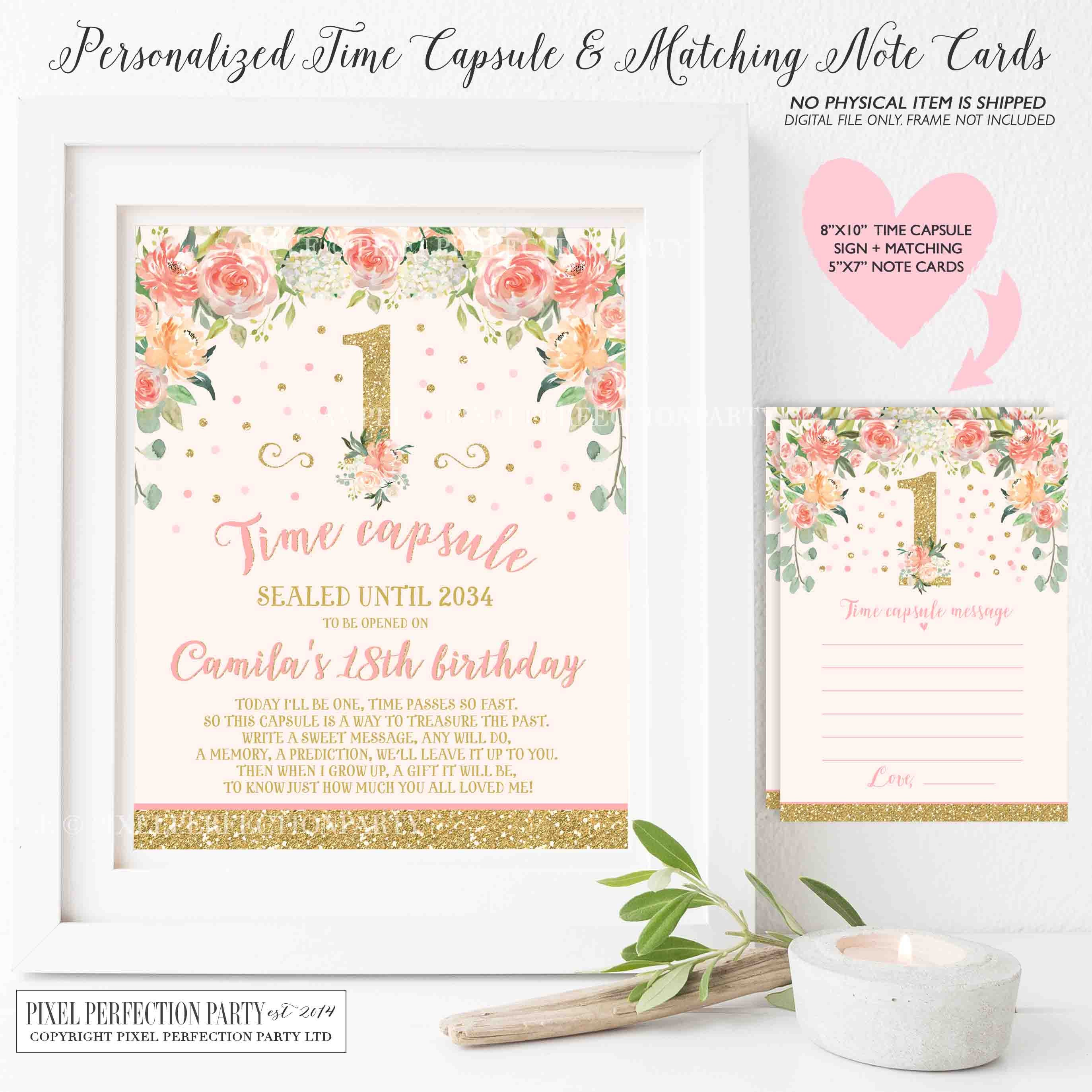 Floral Blush Pink And Gold Time Capsule Matching Note Cards | Etsy