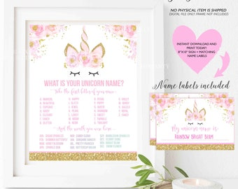 What Is Your Unicorn Name Game Unicorn Party Game Unicorn Party Magical Unicorn Birthday Unicorn Party Game Instant File Unicorn Game 4V