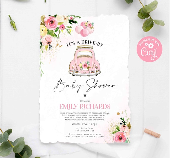 Editable Drive By Baby Shower Invitation Pink Floral Drive Etsy