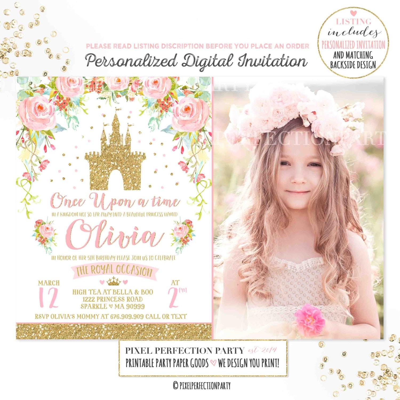 Princess Birthday Invitation Pink Gold Princess Castle | Etsy