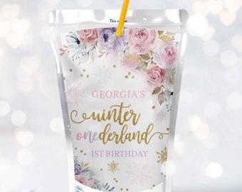 Editable WINTER ONEderland Capri Sun Label Gold & Pink Floral Snowflake Winter Onederland 1st Birthday Juice Pouch Instant Download KA