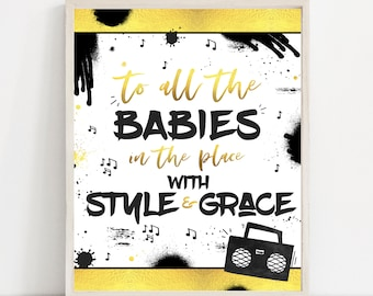Hip Hop Birthday Party Sign 90s Hip Hop Party Sign Rap Birthday Party Two Legit To Quit Party Notorious One Birthday Instant Download TL