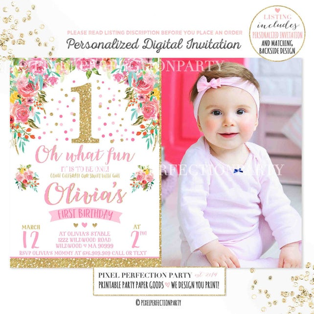 Girl 1st Birthday Invitation Floral Pink Gold 1st Birthday Invitation Spring Flowers 1st Birthday Invitation Spring Garden Party Birthday