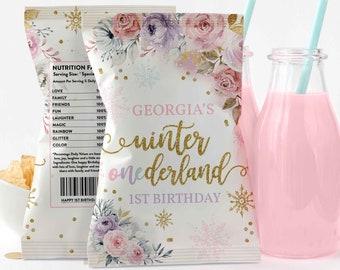 Editable WINTER ONEderland Chip Bag Gold & Pink Floral Snowflake Winter Onederland 1st Birthday Chip Bag Label Favors Instant Download KA