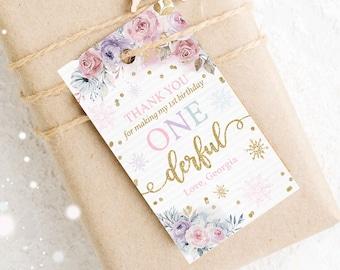 Editable WINTER ONEderland Favor Tags Gold & Pink Floral Snowflake Winter Onederland 1st Birthday Luggage Favor Tags Instant Download KA