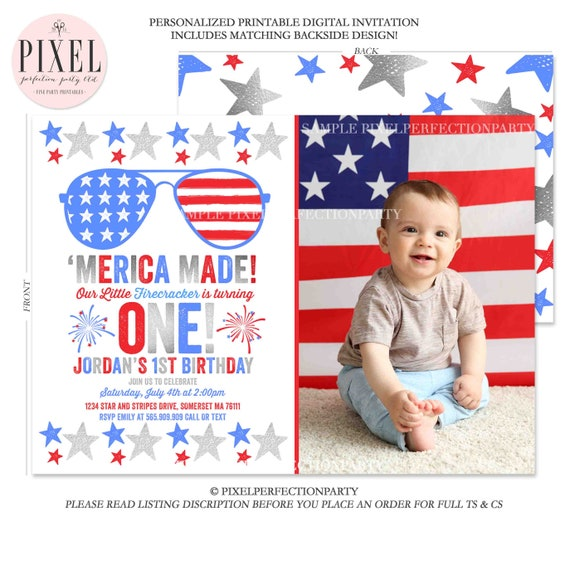 July 4th Birthday Invitation Fourth Of 1st
