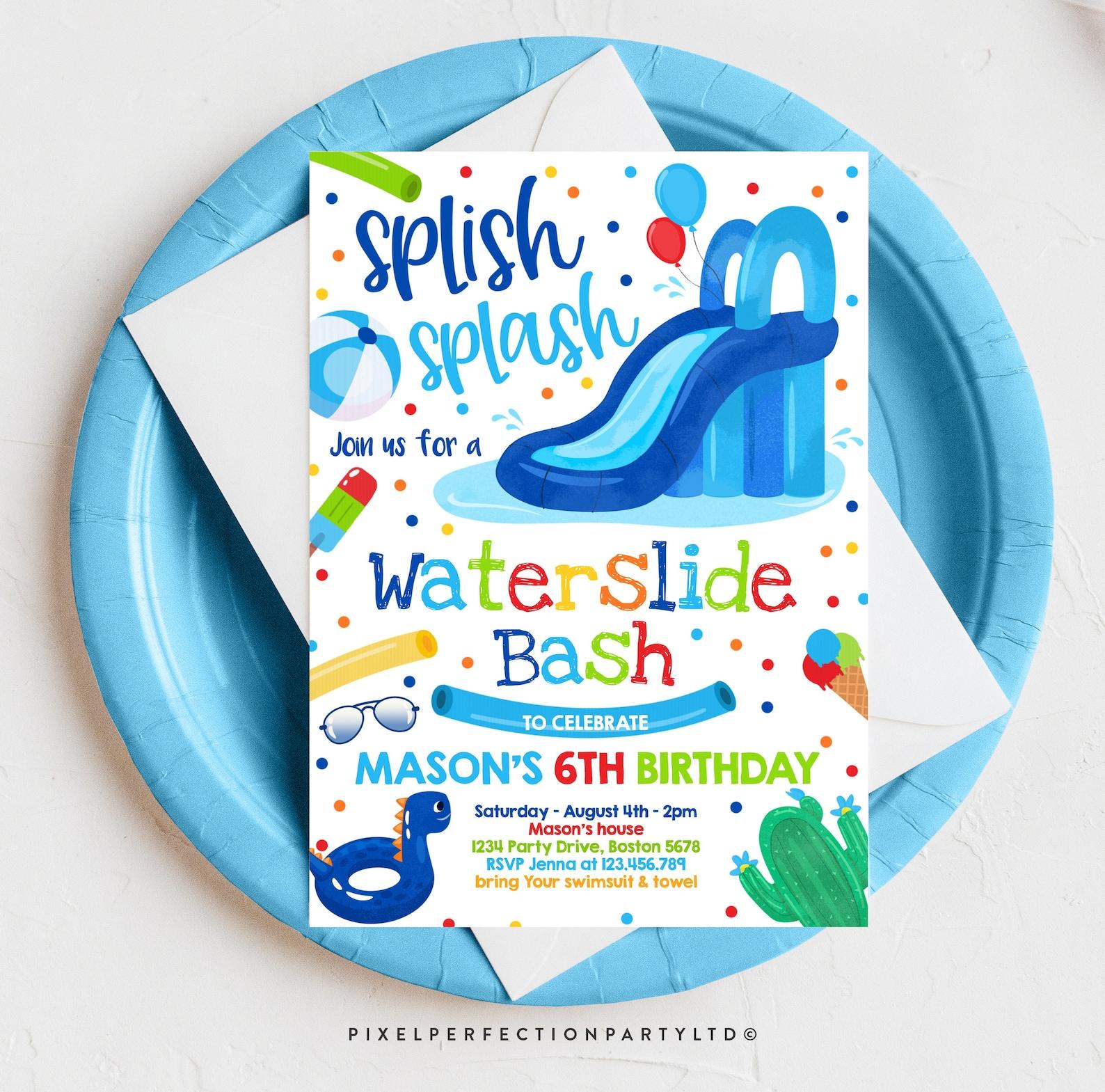 Boys Printable Waterslide Birthday Party Invitations