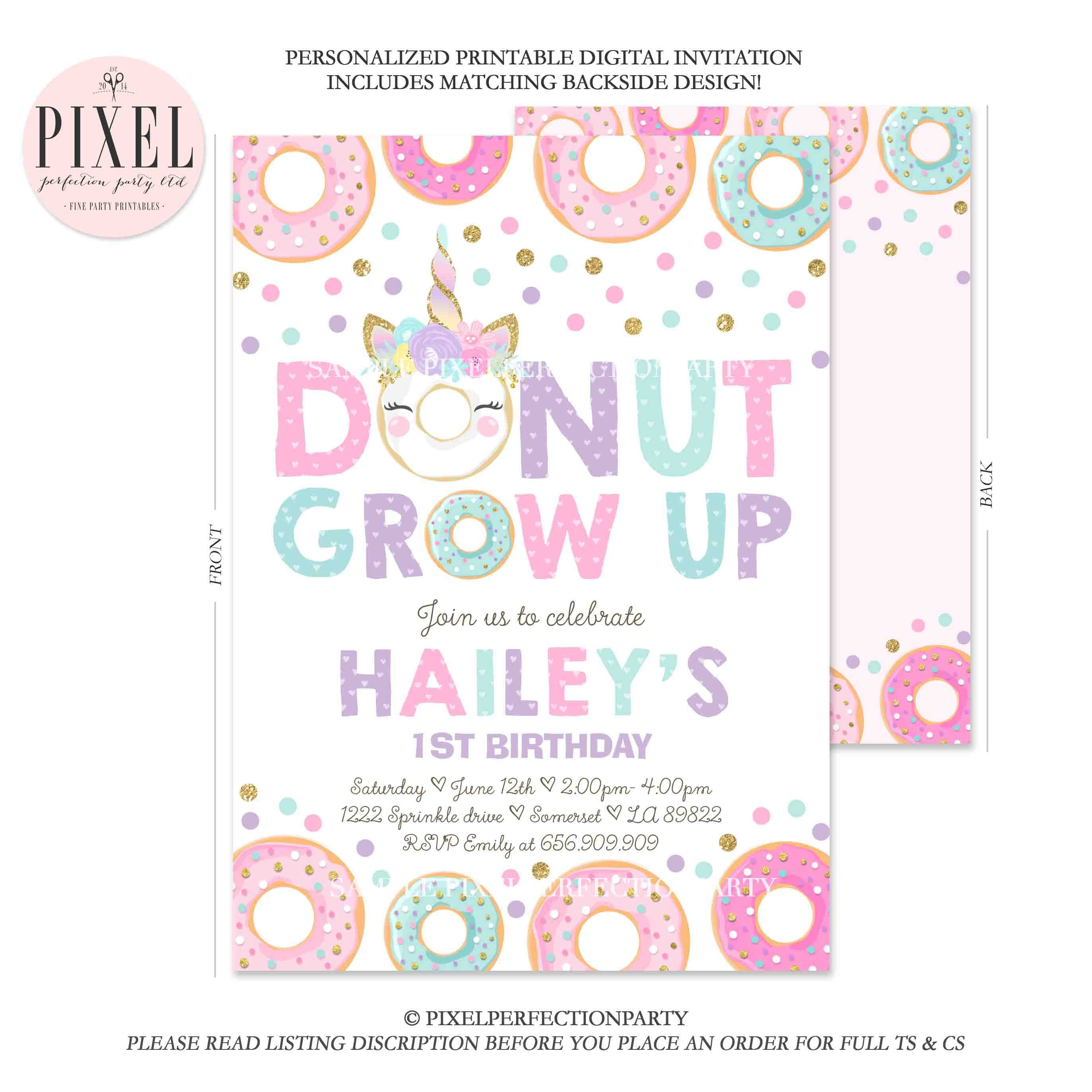 Donut Grow Up Birthday Invitation Unicorn And Etsy Salib Ring Holder Stand Smartphone 1st Party Stop Believing 6b