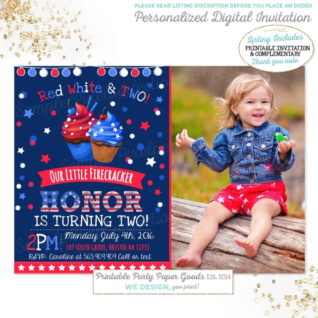 July 4th Birthday Invitation Patriotic Independence Day Red White