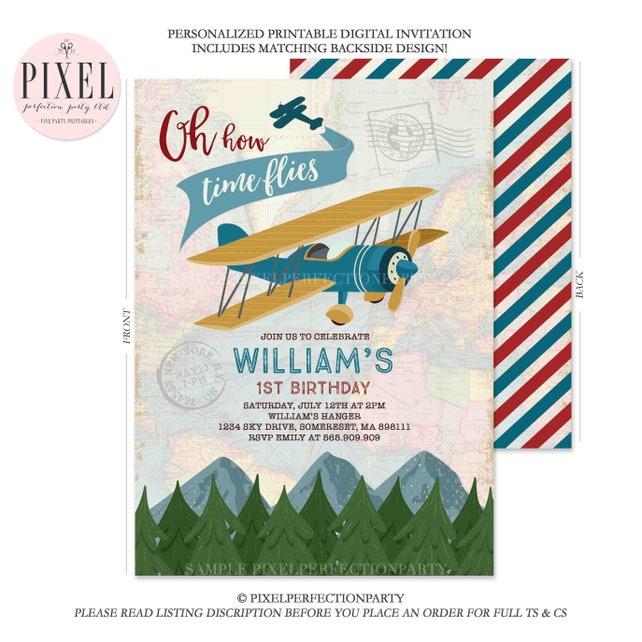 Airplane Invitation Birthday Plane Vintage Boy Party 9E