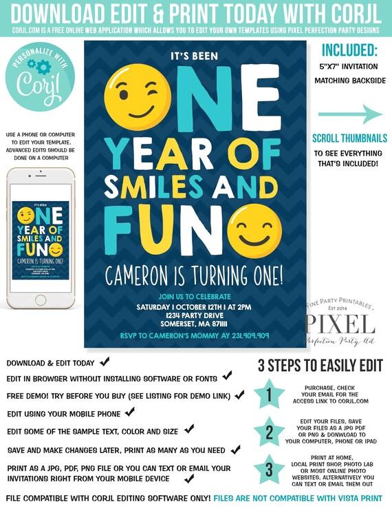 Emoji Birthday Invitation Emoji Smiley Face Birthday Invitation Boy First Birthday Boy 1st Birthday Instant Download Editable File Corjl V6