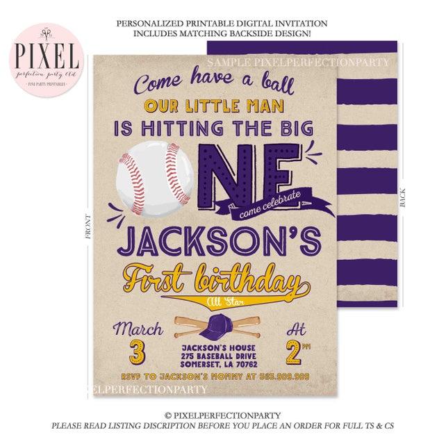 Baseball Birthday Invitation First Vintage Purple Gold 1st