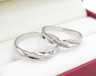 2pcs Free Shipping Platinum promise rings, Wedding Couple Rings, infinity ring, his and her promise ring set, wedding rings, Valentine day