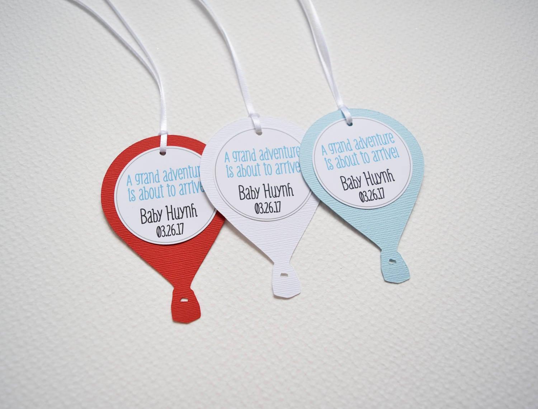 Balloon Tag: 12 Hot Air Balloon Baby Shower Tags Hot Air Balloon