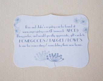 Set of 15 Registry Card - Wedding Registry Card - Lingerie Wishing Well - Hootsie