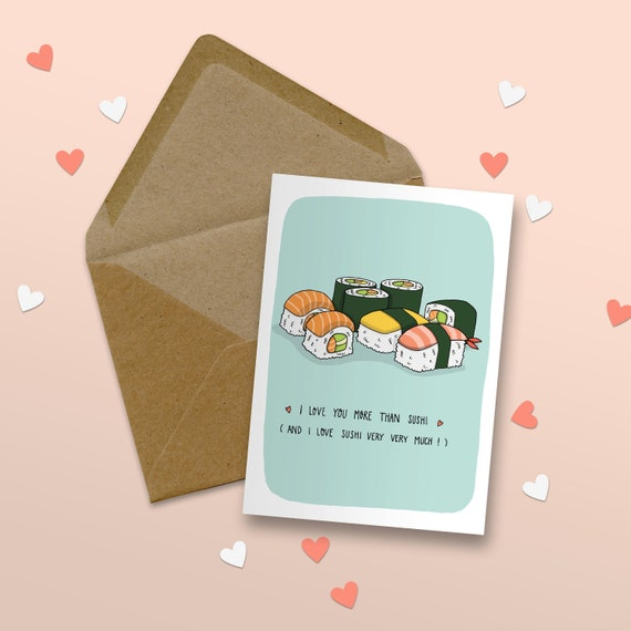 All Occasion Card Blank Card Sushi Date Card LET/'S DO SUSHI Item# L088 Friendship Card Seas and Peas Card for Friend
