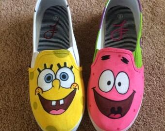 Spongebob and Patrick Custom Hand Painted Shoes