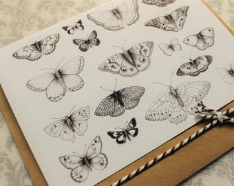Black and white Butterflies CARD
