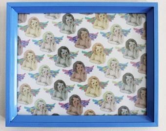 BABY CHERUB Pattern Print in Blue Frame