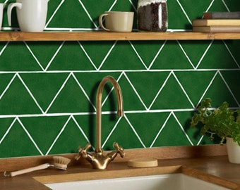 Kitchen and Bathroom Splashback - Removable Vinyl Wallpaper - Triangle Emerald - Peel & Stick