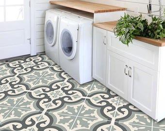 Vinyl Floor Tile Sticker Floor Decals Carreaux Ciment Etsy - Encaustic vinyl flooring