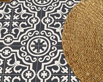 Vinyl Floor Tiles Etsy - Encaustic vinyl flooring