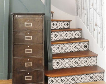 """Stair Riser Stickers - Removable Stair Riser Tile Decals - Marta Pack of 6 in Taupe - Peel & Stick Stair Riser Deco Strips - 48"""" long"""