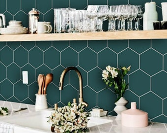 Kitchen and Bathroom Splashback - Removable Vinyl Wallpaper - Hexa Peacock Green - Peel & Stick