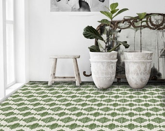 Tile Decals - Tiles for Kitchen/Bathroom Back splash - Floor decals - Hand Painted Moroccan Arabesque Vinyl Tile Sticker Pack color Green