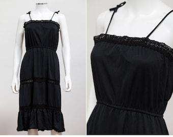 df6934ccb5b2 Sweet and Sexy 70 s 80 s Black Midi Dress with Crochet Detail • Black  Sundress • Crochet Detail Dress
