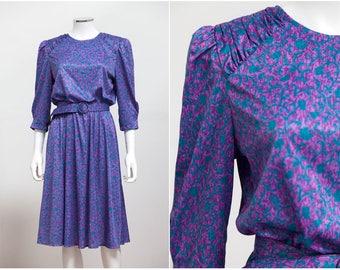 3fcf095b6fc4 80 s Tabby of California Ditzy Floral Day Dress • 80s Secretary Dress •  Indie Spring Dress