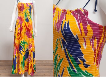 86c287ce1108 80 s Vintage Smocked Sun Dress • Vintage Maxi Sundress • Yellow Dress • Pop  Art Dress