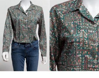 da819b057927 Vintage 70 s Floral Ditzy Print Blouse • Boho Blouse • Country Girl Blouse