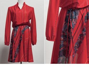 3f6822e541bf 80 s Vintage Semi Sheer Red Poly Chiffon Dress • Indie Dress • Vintage  Secretary Dress