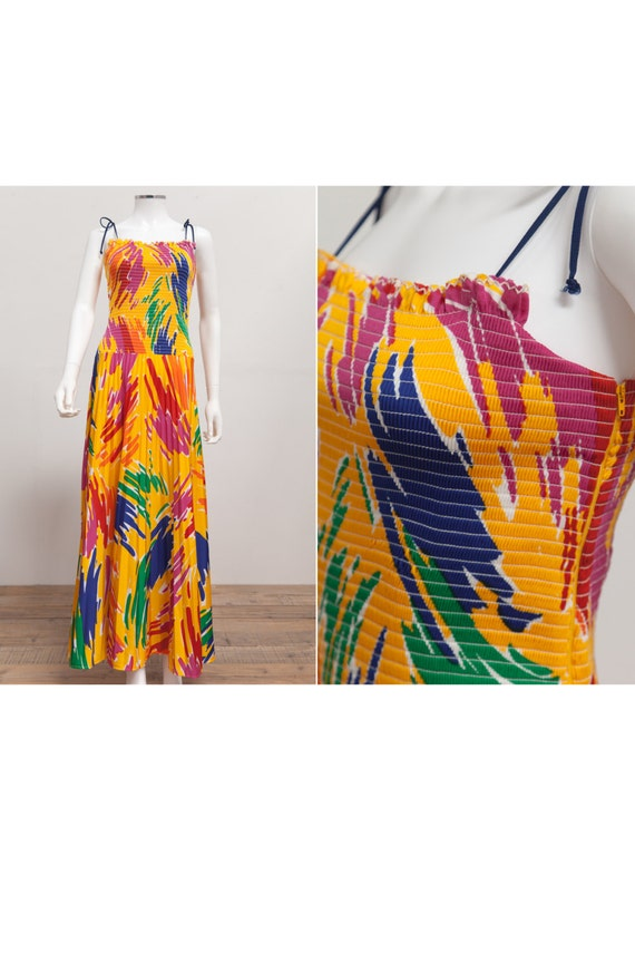 eb8a4c03c85e 80 s Vintage Smocked Sun Dress Vintage Maxi Sundress