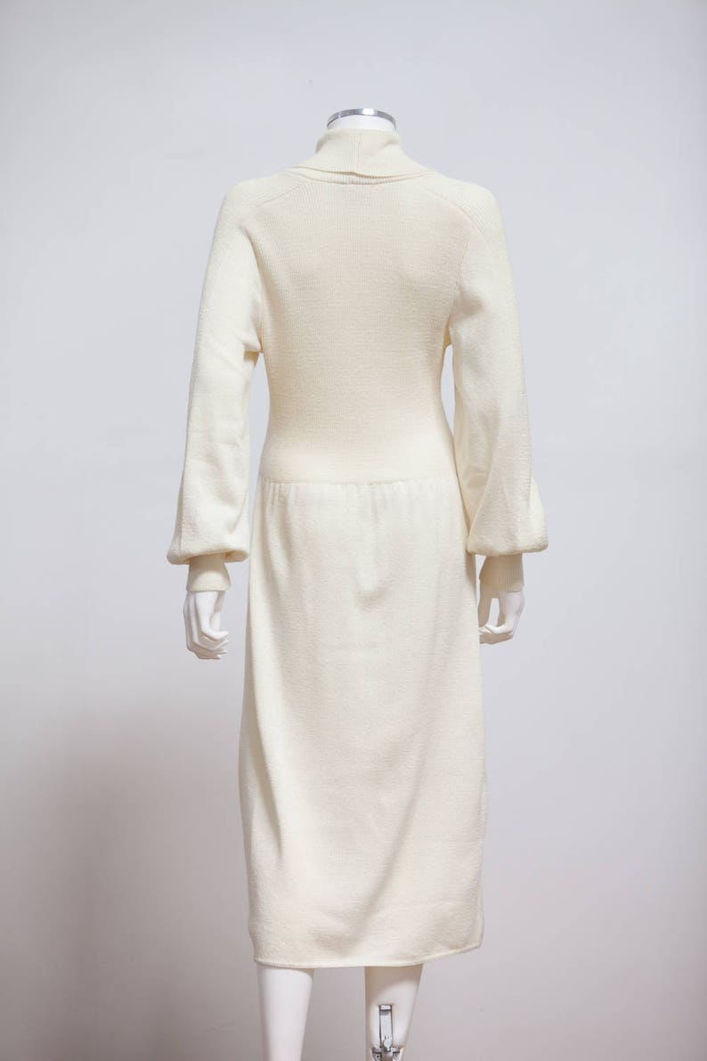 db3ab26324 80 s Cream Knit Dress 80s White Cowl Neck Sweater Dress