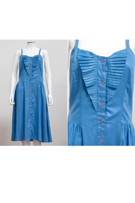 da076f6d190c 1980 s Sundress Blue Summer Dress Vintage 80 s