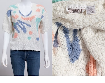 Vintage 80's Boxy Sweater • 80's Print Sweater • 80's Preppy Sweater • Indie Sweater