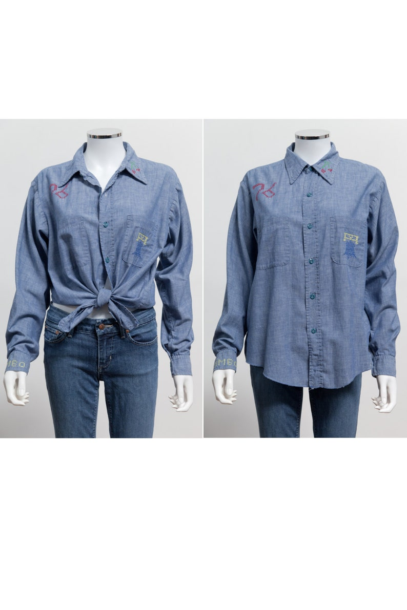 4fb5dd12dd8f 70 s Vintage Hand Embroidered Denim Chambray Button Up