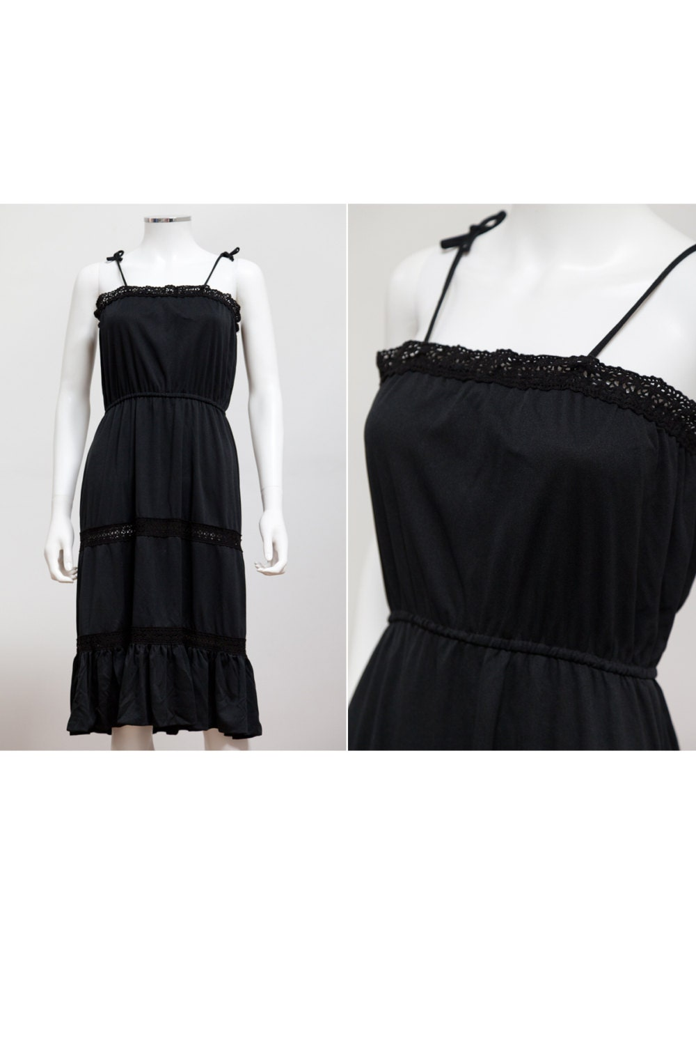 d324446a1715 Sweet and Sexy 70 s 80 s Black Midi Dress with Crochet