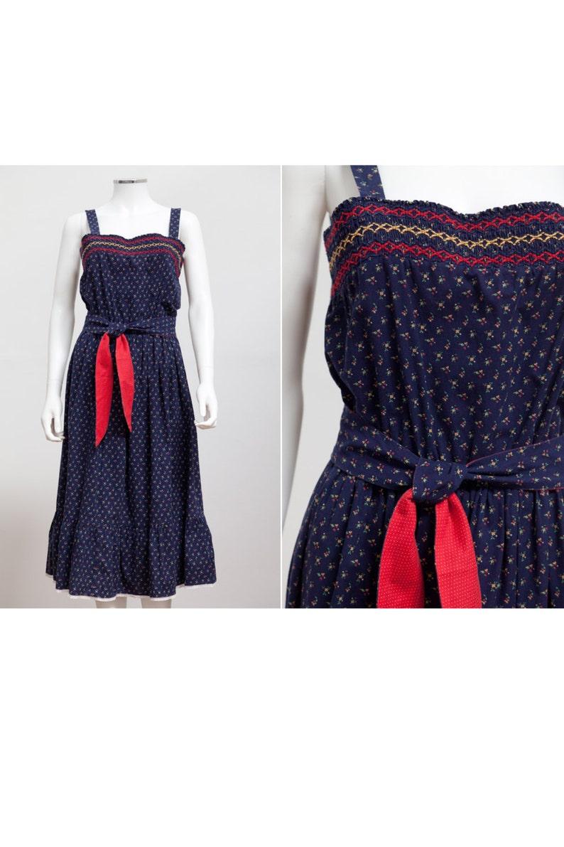 03b5b4c8421b 1970 s Ditzy Print Smocked Sundress Blue Summer SunDress
