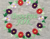 Flower Wreath frame Embroidery Design 3 SIZES INSTANT DOWNLOAD 4x4 5x7 6x10