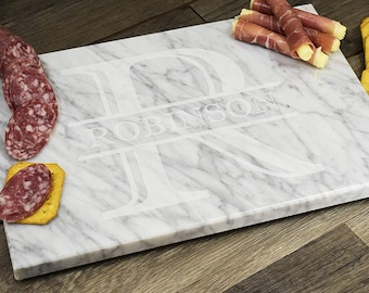 Personalized Custom Engraved Marble Cutting Serving Charcuterie Board! Great gift for Weddings, Housewarmings, Birthdays, Christmas & More