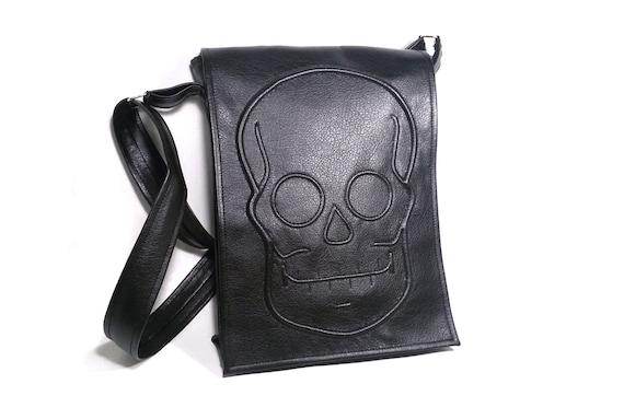 4eb5f56846b6 Black skull bag gothic bag black faux leather vegan bag
