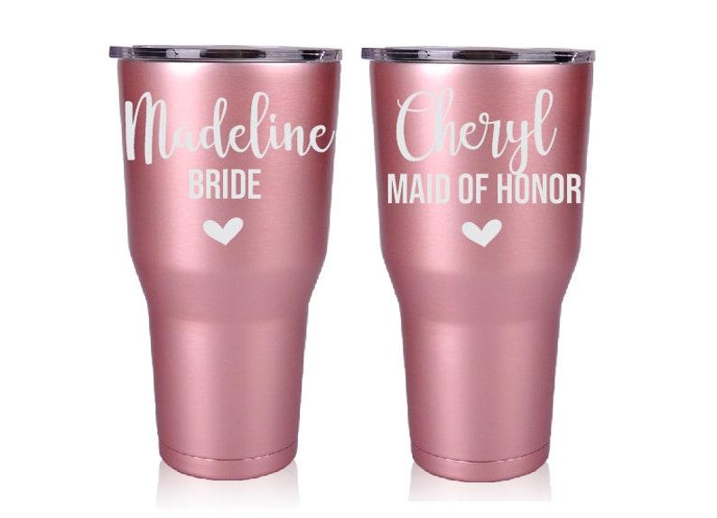 c86b3985e16 Set of 2 Rose Gold Bridesmaid Tumblers Maid of Honor Gift | Etsy