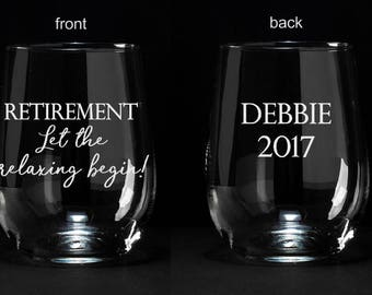 Retirement Gift, Engraved Retirement Wine Glass, Celebration Wine Glass, Retirement Wine Glass Gift, Personalized Retirement Gift