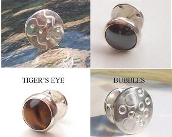 SilverTie Pin , Lapel Pin ,  Sterling Silver 925 , UK   , Hematite  Pin , Bubbles  Pin , African Desert Pin, Fathersday