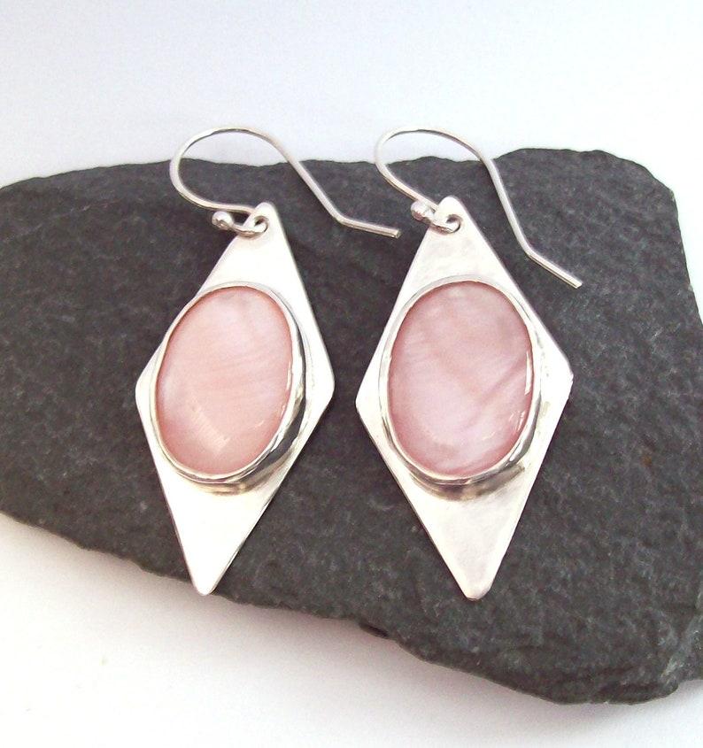 0ef4cf0636333 Pink Mother Of Pearl Earrings , 925 Sterling Silver Earrings , Decorative  Earrings , Embossed Decorative Backs , Pink , Large Earrings